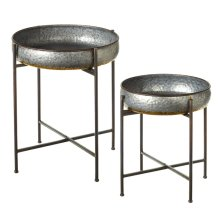 Galvanized with Gold Accent Round Side Tables (2 pc. set)