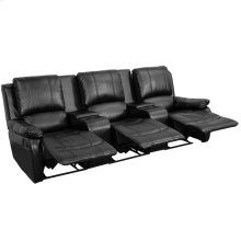 Allure Series 3-Seat Reclining Pillow Back Black Leather Theater Seating Unit with Cup Holders