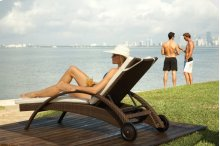 Atlantis Patio Chaise Lounge with wheels