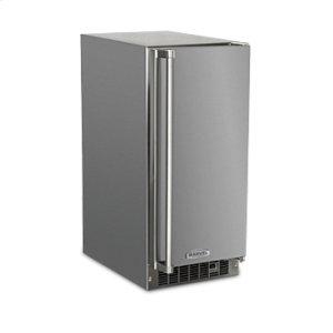 """Marvel15"""" Outdoor Crescent Ice Machine - Solid Stainless Steel Door - Left Hinge"""