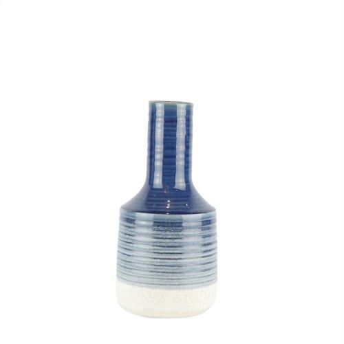 """Ceramic Genie Vase 13.5"""", Navy"""
