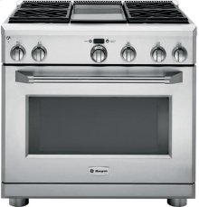 """( DISCONTINUED FLOOR MODEL) GE Monogram® 36"""" Dual-Fuel Professional Range with 4 Burners and Griddle (Liquid Propane)"""