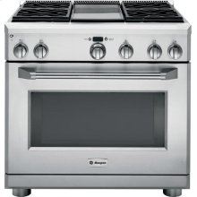 "( DISCONTINUED FLOOR MODEL) GE Monogram® 36"" Dual-Fuel Professional Range with 4 Burners and Griddle (Liquid Propane)"