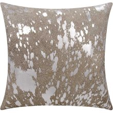 """Couture Nat Hide S6129 Beige/gold 18"""" X 18"""" Throw Pillow"""