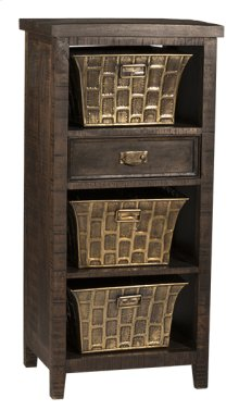 Signature 3 Basket Stand With 1 Drawer - Textured Walnut