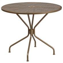 35.25'' Round Gold Indoor-Outdoor Steel Patio Table