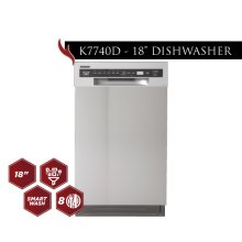 """Kucht 18"""" Front Control Dishwasher in Stainless Steel with Stainless Steel Tub and Multiple Filter System"""
