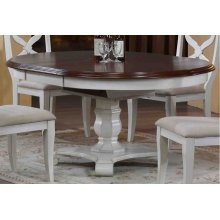 DLU-ADW4866-AW  Andrews Butterfly Leaf Dining Table  Antique White with Chestnut Finish Top