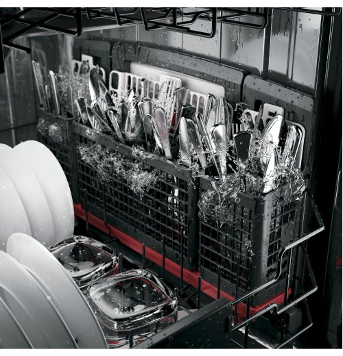 GE Café Series Stainless Interior Built-In Dishwasher with Hidden Controls