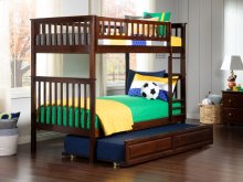 Woodland Bunk Bed Twin over Twin with Raised Panel Trundle Bed in Walnut