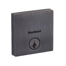 Downtown Low Profile Square Contemporary Keyed One Side Deadbolt - Venetian Bronze