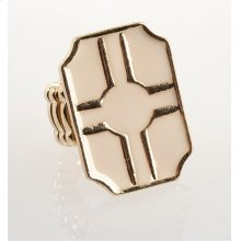 BTQ White and Gold Graphic Stretch Ring