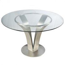 Cleo Contemporary Dining Table In Stainless Steel With Clear Tempered Glass Product Image