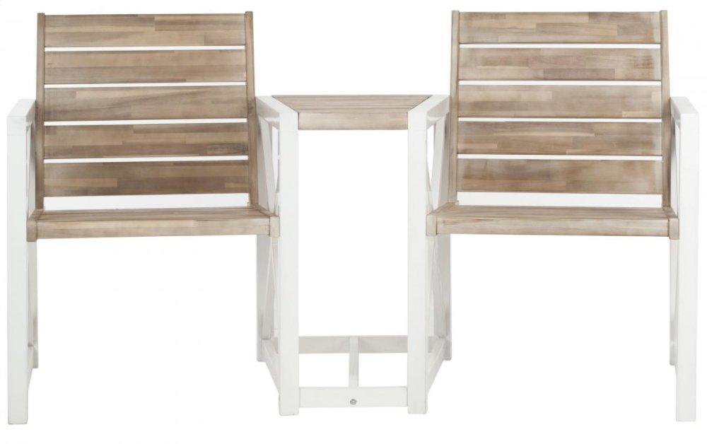 Jovanna 2 Seat Bench - White / Oak