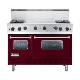 """Burgundy 48"""" Open Burner Commercial Depth Range - VGRC (48"""" wide, four burners 24"""" wide griddle/simmer plate)"""
