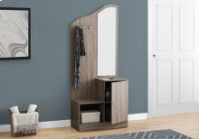 "HALL TREE - 75""H / DARK TAUPE STORAGE UNIT / MIRROR"