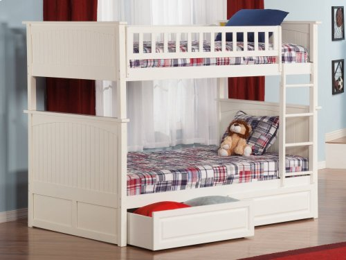 Nantucket Bunk Bed Full over Full with Raised Panel Bed Drawers in White