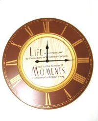 "Wood Wall Clock """"Life/Moments""""- 31.5x31.5x1.77 Product Image"