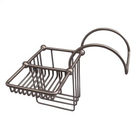 Bath Supply Basket for Tub Rim - Brushed Nickel