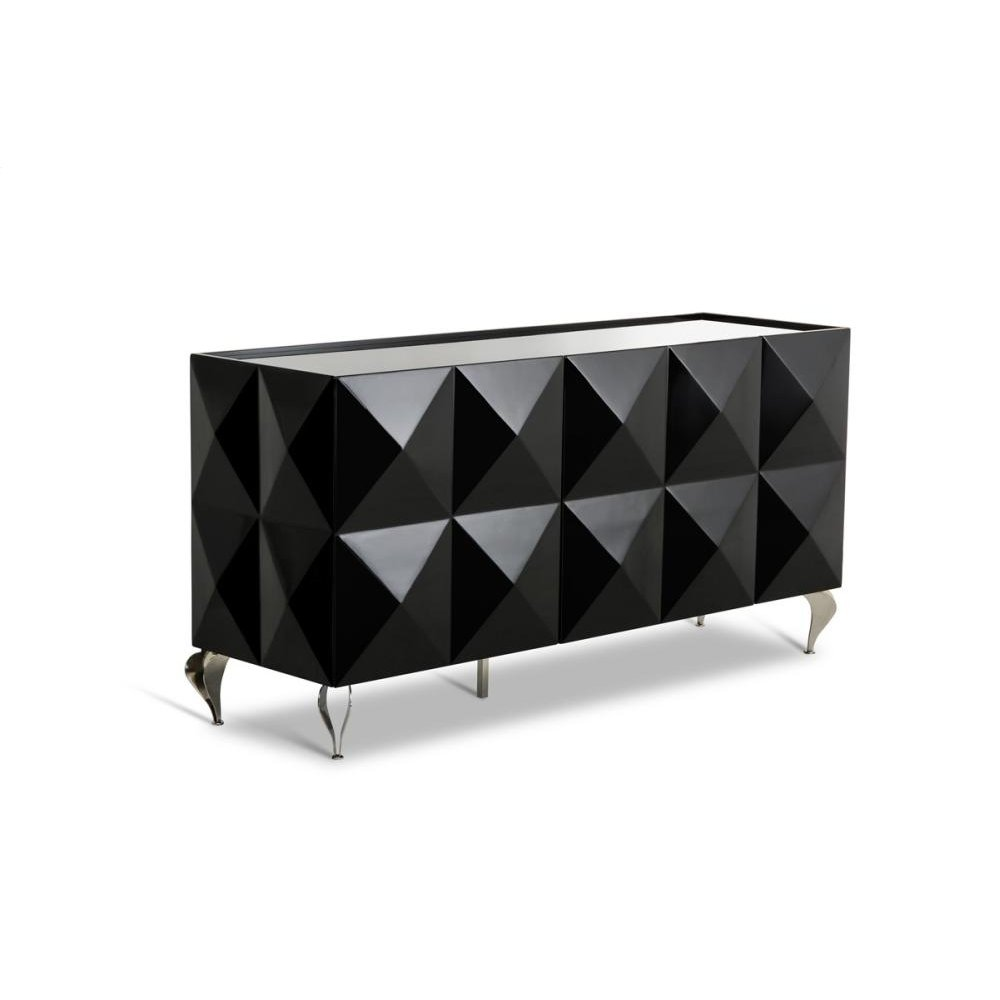 Versus Eva Black Lacquer 3-Door Buffet