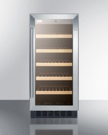 """15"""" Wide ADA Compliant Wine Cellar for Built-in or Freestanding Use, With Digital Controls, Front Lock, LED Lighting, and Stainless Steel Wrapped Cabinet"""