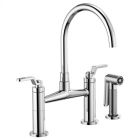 Bridge Faucet With Arc Spout and Industrial Handle