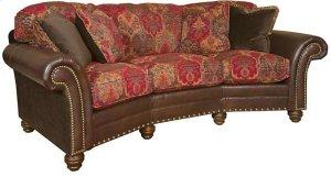 Katherine Leather/Fabric Conversation Sofa