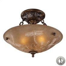 Restoration Flushes 3 Light Semi Flush in Antique Golden Bronze - Includes Adapter Kit
