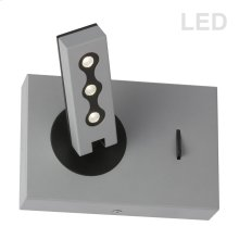 Wall Sconce W/ Reading Lamp, Silver Finish
