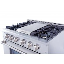 36 Inch Professional Gas Range With Griddle In Stainless Steel