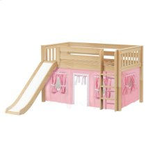 Low Loft Bed with Straight Ladder, Slide & Curtain