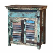 Reclaimed Wood one Drawer 2 Door End Table