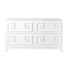 Four Drawer White Lacquer Dresser. All Drawers On Glides.