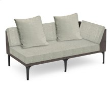 "67"" Dark Grey Rattan Left Two-Seat Sofa Sectional, Upholstered in Standard Outdoor Fabric"