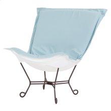 Scroll Puff Chair Seascape Breeze Mahogany Frame