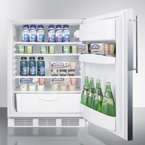 ADA Compliant All-refrigerator for Built-in General Purpose Use, Auto Defrost W/ss Door Frame for Slide-in Panels and A White Cabinet