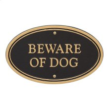 Beware of Dog Oval Wall/Lawn Statement Plaque - Black/Gold