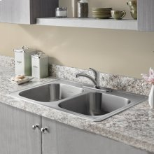 Colony 33x22 Double Bowl Stainless Steel Kitchen Sink  American Standard - Stainless Steel