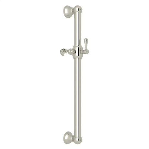 "Polished Nickel 24"" Decorative Grab Bar With Lever Handle Slider"