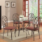 """5 PC 42"""" Rd. Dining Set / Metal-Glass Product Image"""
