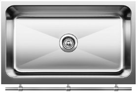 Blanco Magnum Large Single Bowl Sink With Apron & Stainless Steel Towel Bar - Satin Finish