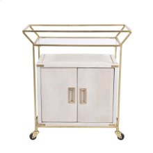 "Wood / Iron 31"" Bar Cart, White Wash"