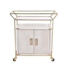 "Wood / Iron 31"" Bar Cart, White Wash"