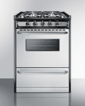 """Out of Box Slide-in Gas Range In Slim 24"""" Width, With Stainless Steel Doors and Four Sealed Burners; Replaces Tnm630r"""