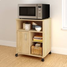 Microwave Cart with Storage on Wheels - Natural Maple