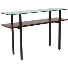 West End Collection Glass Console Table with Walnut Finish Shelf
