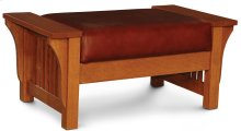 Prairie Mission Lounge Ottoman, Leather Cushion Seat