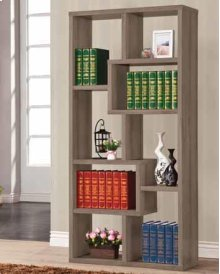 - Eight shelf bookcase finished in weathered grey- Constructed with MDF, particle board, and engineered veneer- Also available in cappuccino (#800264), white (#800136), grey driftwood (#801137), walnut (#801138), and elm(#801302)