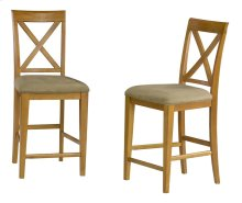 Lexi Pub Chairs Set of 2 with Cappuccino Cushion in Caramel Latte