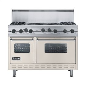 """Oyster Gray 48"""" Sealed Burner Self-Cleaning Range - VGSC (48"""" wide, four burners & 24"""" wide char-grill)"""